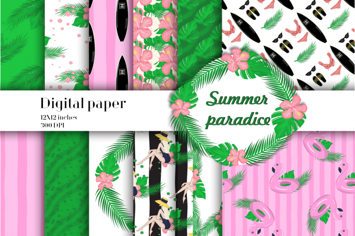 Summer paradise digital paper