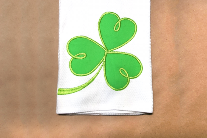 Swirly St Patricks Day Shamrock Applique Embroidery Design