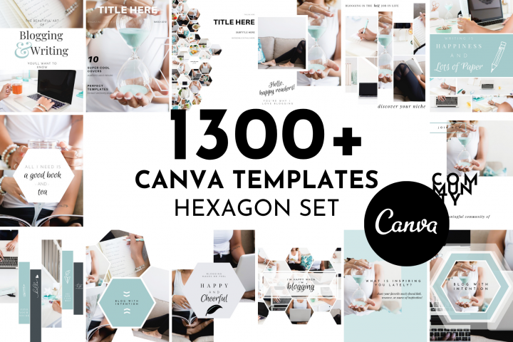 1300 Canva Template Set - Hexagon Design
