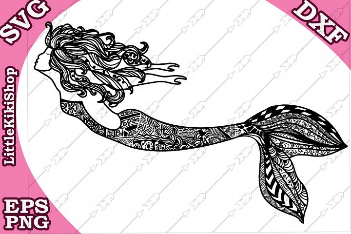 Zentangle Mermaid Svg Mandala Mermaid Svg, Mermaid cut file