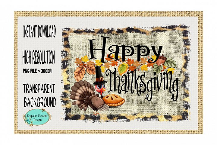 Happy Thanksgiving, Turkey with pie, Sublimation Design
