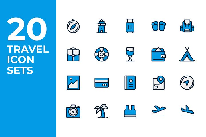 20 Travel Icon Sets - Blue Filled Line
