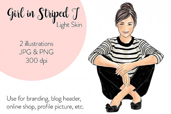 Fashion illustration - Girls in striped T - Light Skin