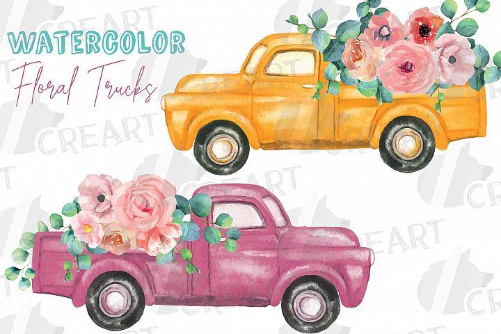 Printable floral pickup trucks wedding decoration clip art.