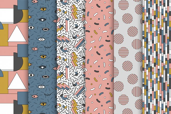 Memphis seamless trendy patterns