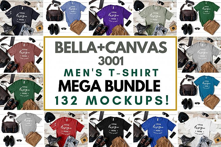 Mens Bella Canvas 3001 Masculine T-Shirt Mockup Mega Bundle