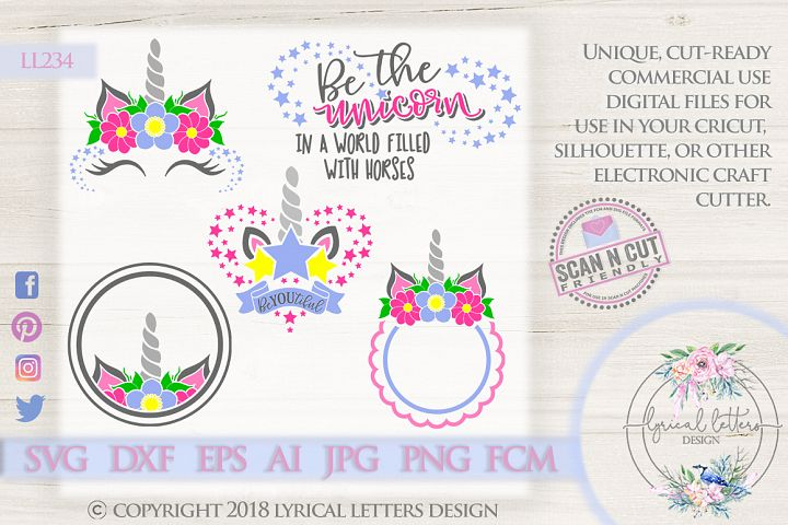 Unicorn Party Mini Bundle of 5 SVG DXF FCM Cut Files LL234