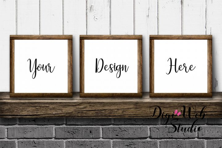 3 Wood Signs Mockup - 3 Wood Frames on Mantle