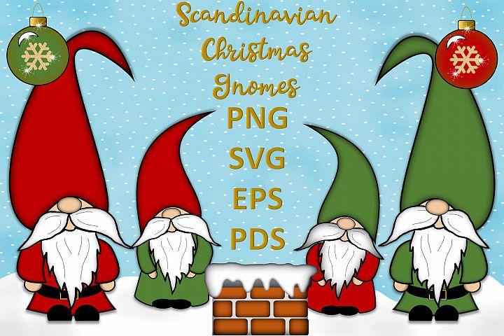 Scandinavian Christmas Gnomes Clipart SVG, PSD, PNG, EPS