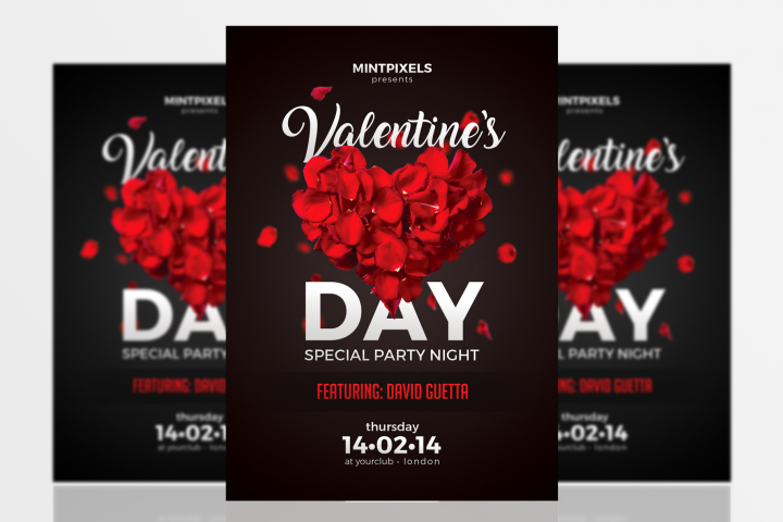 Valentines Day Party A5 Flyer Template