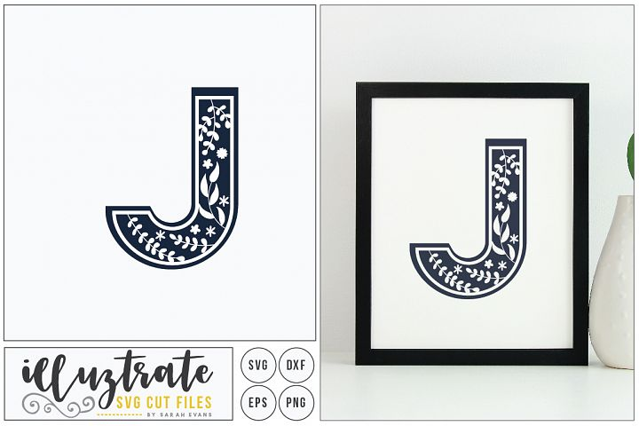 Letter J SVG Alphabet - DXF cut files - Vector Clipart