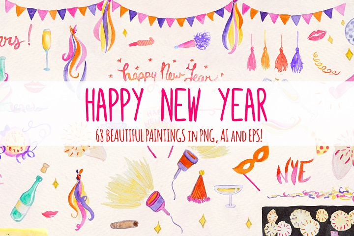68 New Years Eve Watercolor Vector Graphic Elements