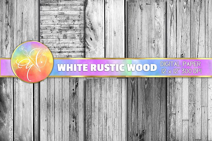 White Rustic Wood Digital Paper, Digital Background