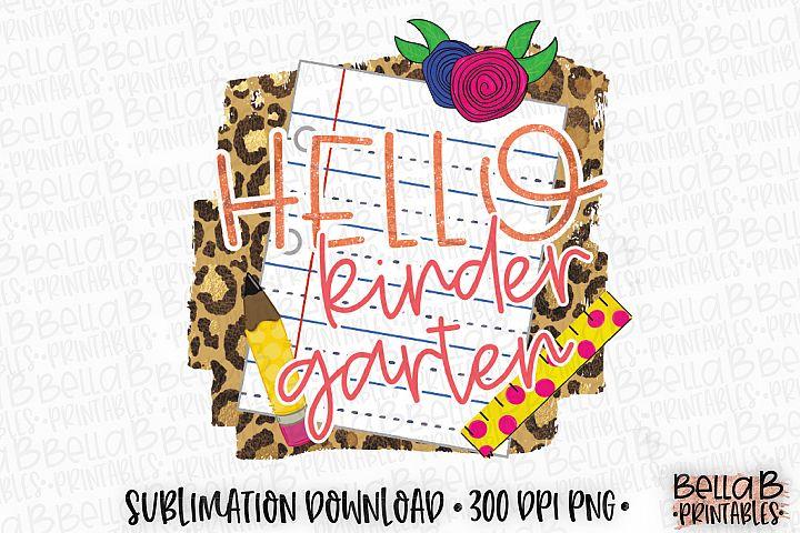 Hello Kindergarten Sublimation Design, Leopard Print School