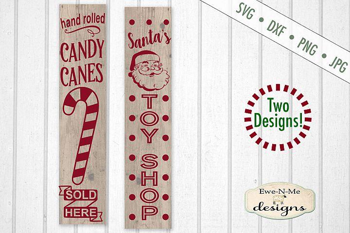 Candy Canes Santas Toy Shop - Christmas - Vertical SVG