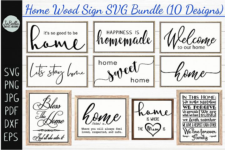 Home Wood Sign SVG Bundle - Farmhouse SVG Bundle