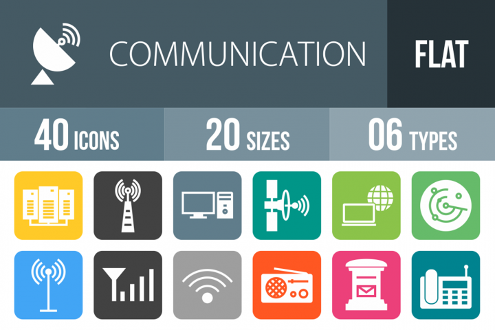 40 Communication Filled Round Corner Icons