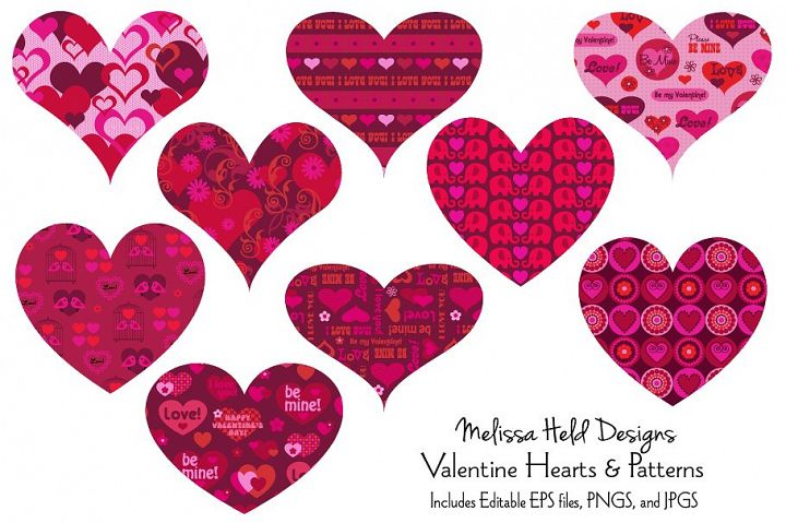 Valentine Hearts and Patterns