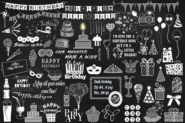Chalk Birthday Mega Bundle Clip Art