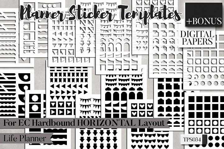 Planner sticker templates, Erin Condren Hardbound Horizontal