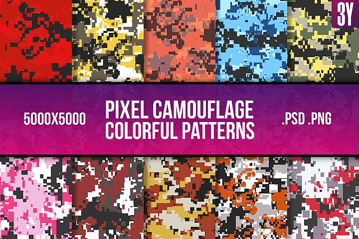 Pixel Camouflage Colorful Pattern