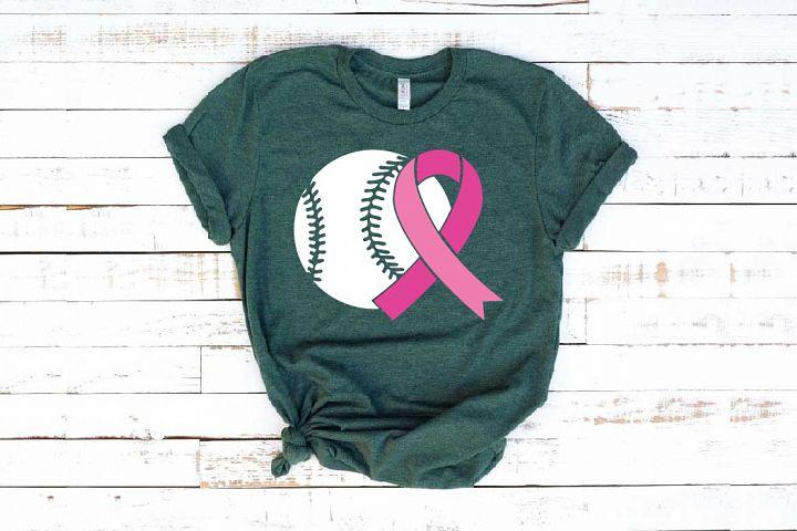 Baseball Tackle Breast Cancer Svg Awareness ribbon 1452s