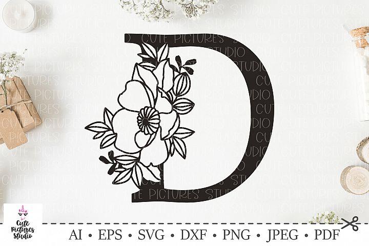 Botanical alphabet svg. Floral letter D svg. Bundle SVG, DXF