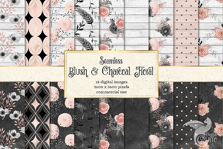 Blush and Charcoal Floral Digital Paper