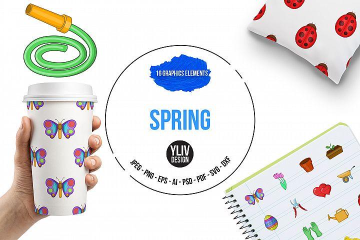 Spring icons set, cartoon style example