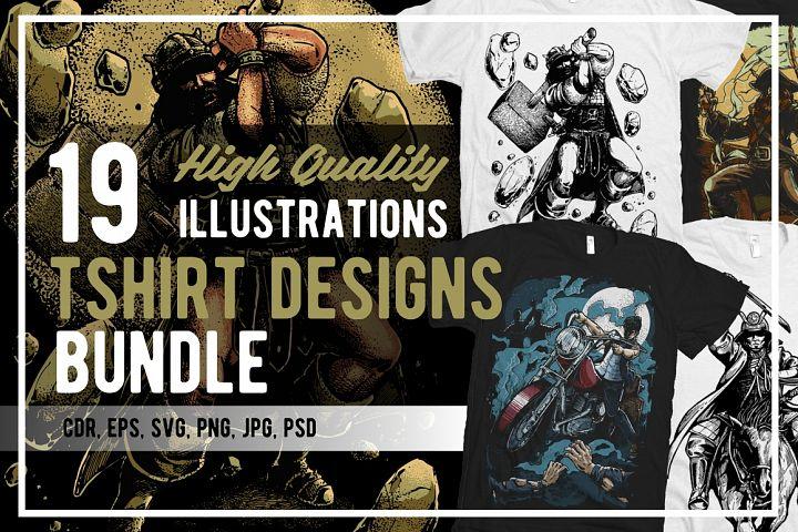 19 Illustrations Tshirt Designs Bundle