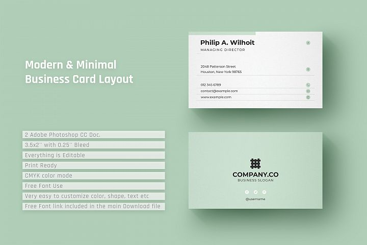 Modern & Minimal Business Card Layout