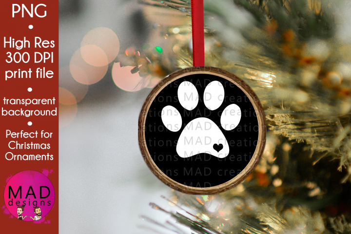 Dog Print - Rustic Wood Slice Christmas Ornament