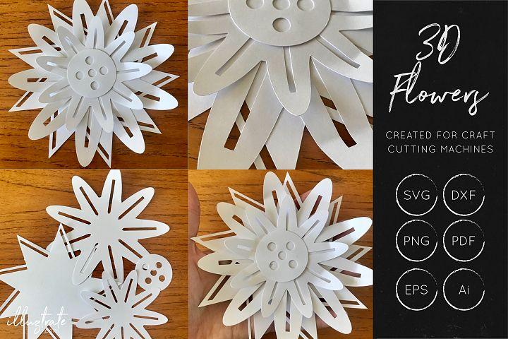 3D Flower SVG Cut Files - Flower SVG - Layered Flower DXF - Free Design of The Week Design 7