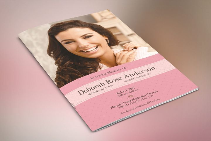 Glamour Funeral Program Photoshop Template