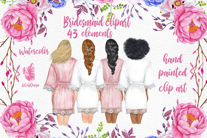 Bridesmaid Wedding Robes clipart, Bridal shower clipart