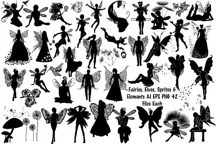 Fairies, Elves Sprites & Elements AI EPS PNG