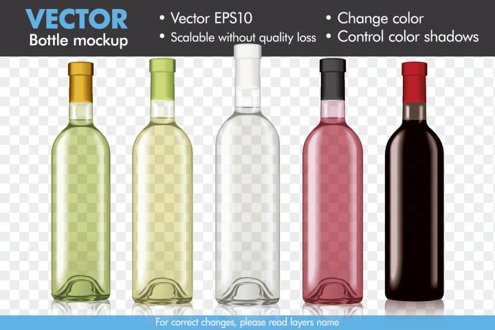 Vector Wine Bottle Mock-up Mockup Template