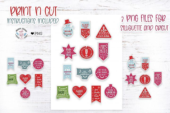 Funny Christmas Print n Cut Stickers