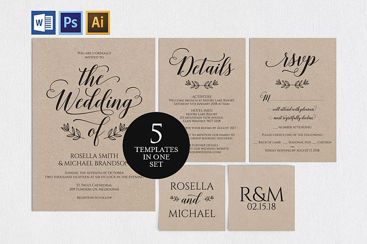 Wedding invitation set portrait, TOS_5
