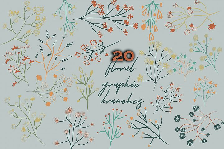 Floral graphic branches