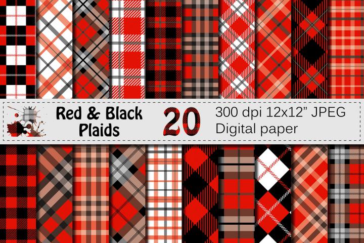 Black and Red Plaids Digital Paper Set