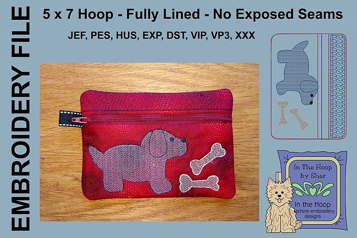 ITH Puppy Zipper Bag - Fully Lined, 5X7 HOOP