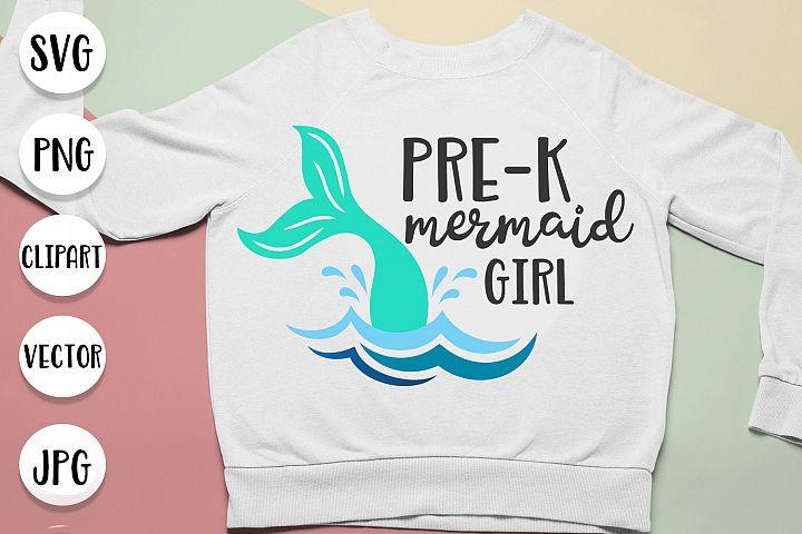 Pre-k mermaid girl, preschool mermaid svg cut files