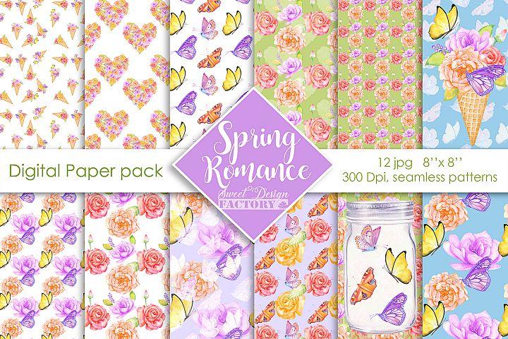 Watercolor flowers and butterflies digital paper pack