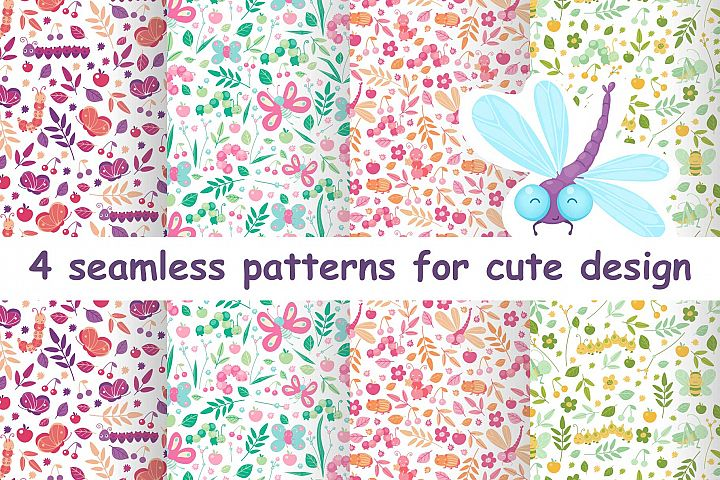 Floral animal cute seamless patterns for baby