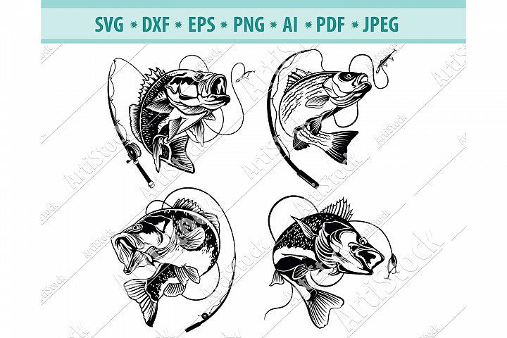 Bass Fishing Svg, Fishing Svg, Fishing Hooks Png, Dxf, Eps example image 1