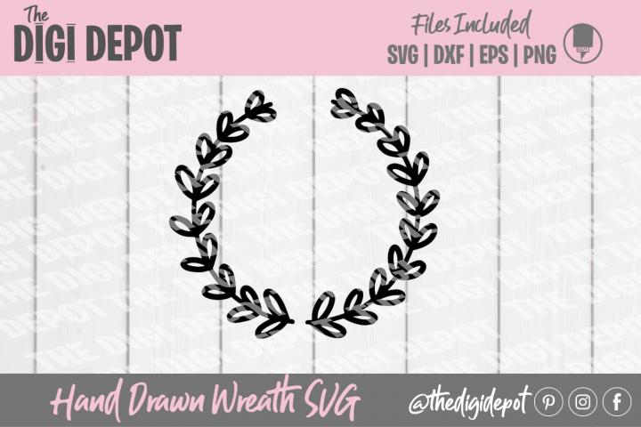 Wreath SVG, Hand Drawn Wreath, Cut File, Leaf Wreath SVG