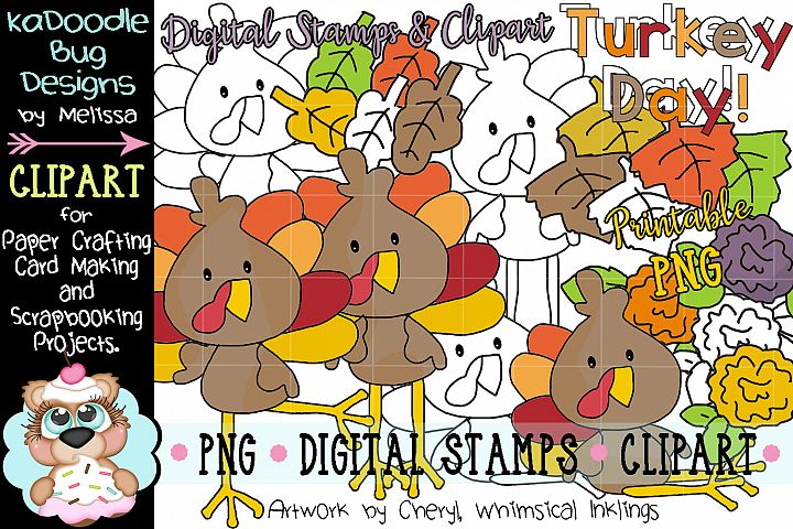 Turkey Day Digital Stamp and Clipart Illustrations PNG