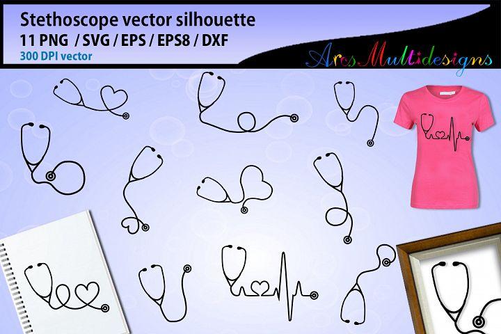 Stethoscope SVG silhouette Bundle / Stethoscope vector