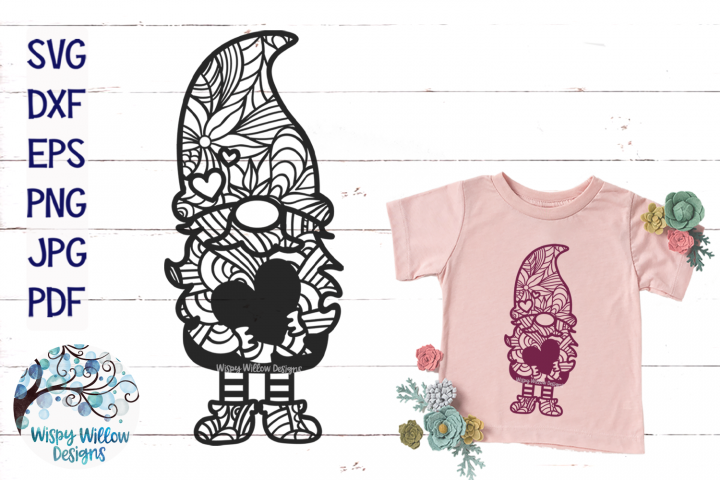 Gnome Zentangle SVG | Gnome Mandala SVG | Gnome Heart SVG